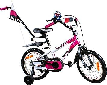 12 Zoll Kinderfahrrad mit Rücktrittbremse Kinder Fahrrad Mädchen Blümchen Pink