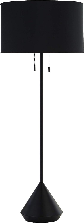 """Rivet Modern Pull Chain Switch for Each Socket Floor Lamp with Bulb, 60""""H, Matte Black - 67204"""