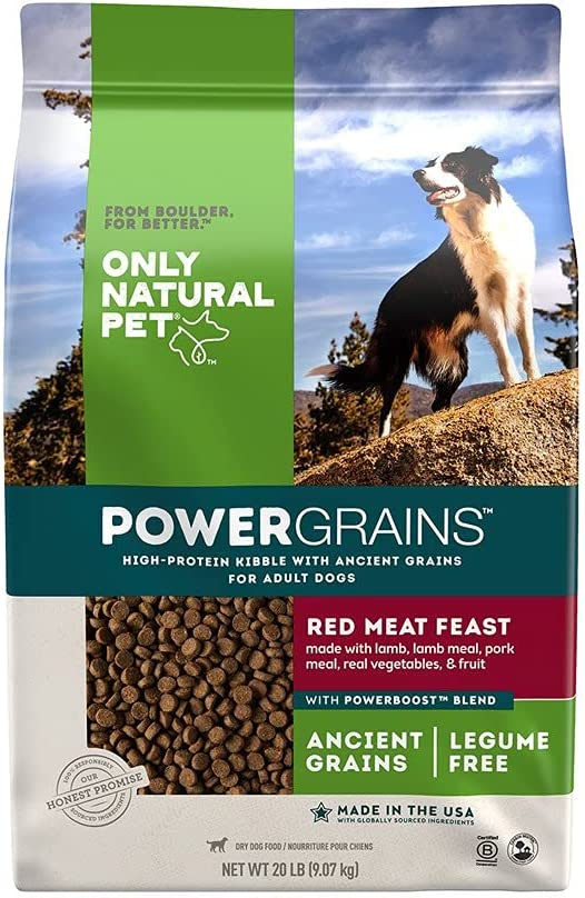 Only Natural Pet Powergrains Red Meat Feast Ancient Grains Dog Food - High-Protein Kibble Dry Dog Food for Adult Dogs Made with Lamb, Lamb Meal, Pork Meal, Real Vegetables, & Fruit - 20 Lb Bag