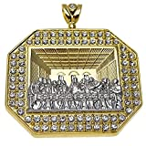 Huge Jesus Piece 3D Last Supper Gold Finish Two Tone Iced-Out Bling Hip Hop Octagonal Octagon Pendant