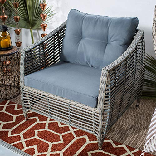 Patio Lounge Chair. Modern, Outdoor Furniture Of Aluminum, Resin Wicker For Fire Pit, Table, Porch, Deck, Lawn, Pool, Garden, Balcony, Conversation, Seating, Chat. Outside, Deep Armchair With Cushions