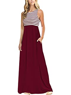 f344b9d510 TECREW Women's Striped Round Neck Sleeveless Casual Long Maxi Dress with  Side Pockets