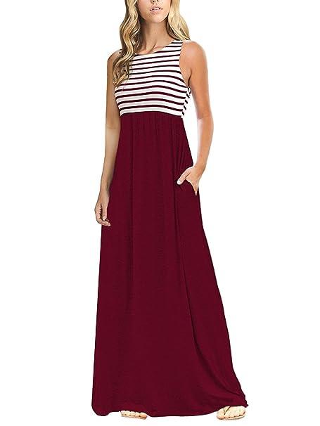 2865877de869 Amazon.com: TECREW Women's Striped Round Neck Sleeveless Casual Long Maxi  Dress with Side Pockets: Clothing