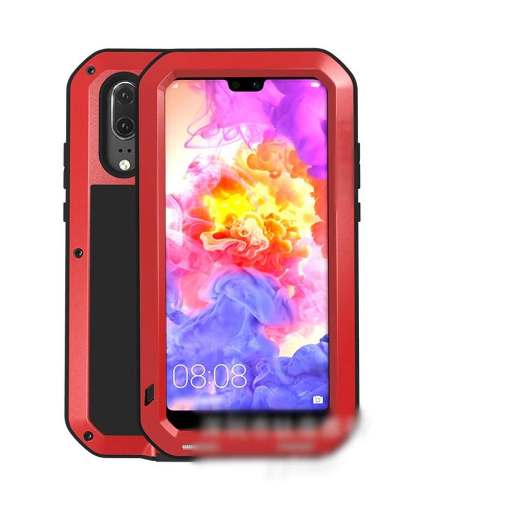 Abiliyy Huawei社P20、P20 Pro、P20 Lite、Mate10、Mate10 Pro用のファッション3アンチ携帯電話ケース新しい金属製のカバー飛散防止保護電話ケース (Color : レッド, Edition : P20 Lite)