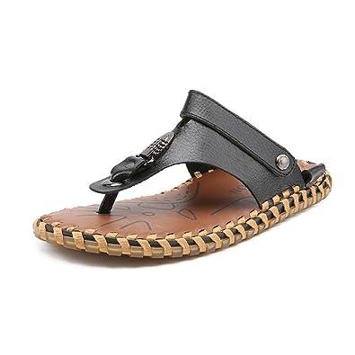 98c50410c068ed Men s Flip Flops Shoes Genuine Leather Beach Slippers Non-Slip Soft Flat  Casual Sandals Slides