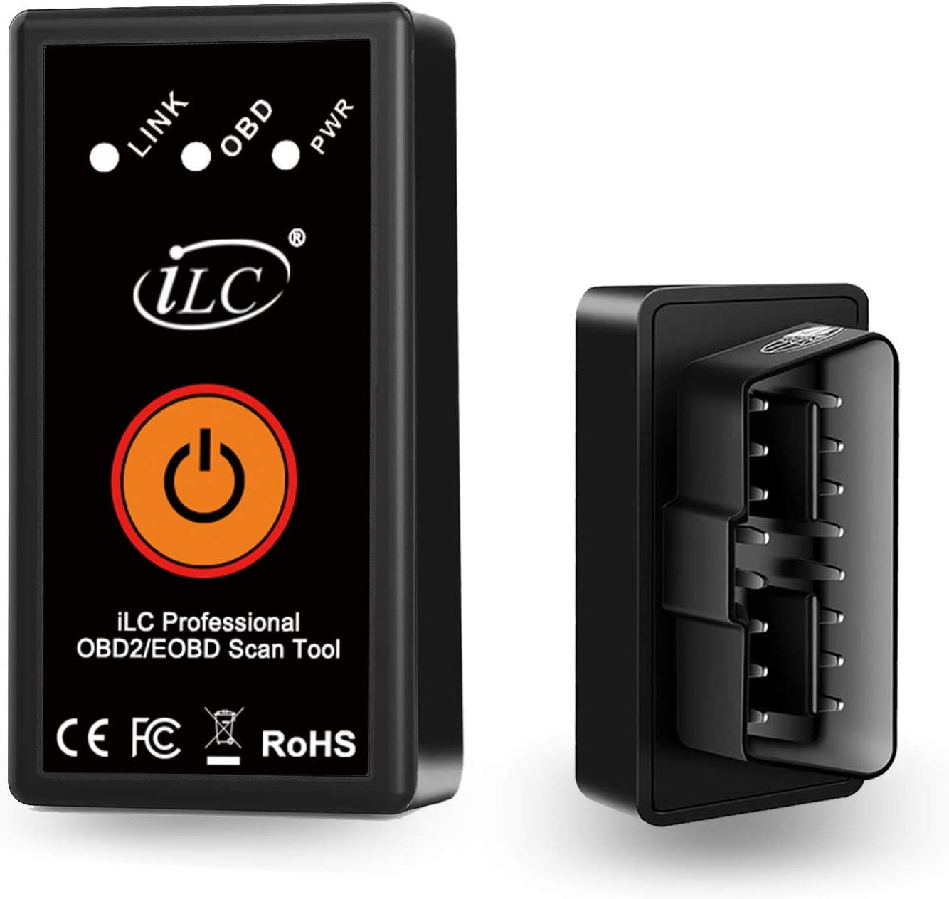 iLC OBD2 Bluetooth Coche Diagnóstico Escáner inalámbrico OBD2 Bluetooth Herramienta OBD Compatible con iPhone iOS, Android & Windows Dispositivo