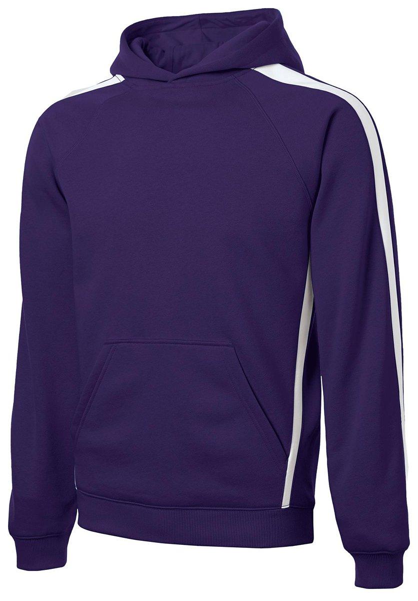 Sport-Tek Men's Tall Sleeve Stripe Pullover Hooded Sweatshirt LT Purple/ White by Sport-Tek