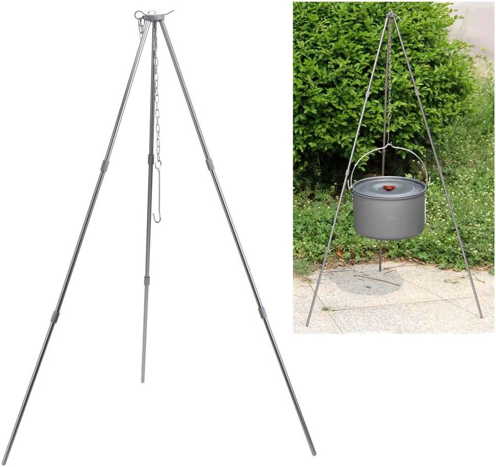 Pro Outdoor Camping Picnic Cooking Tripod Hanging Pot Campfire Fire Grill Tripod