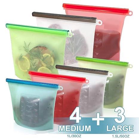 NMRCP Bolsa Silicona Reutilizable Set, 4 Colores ...