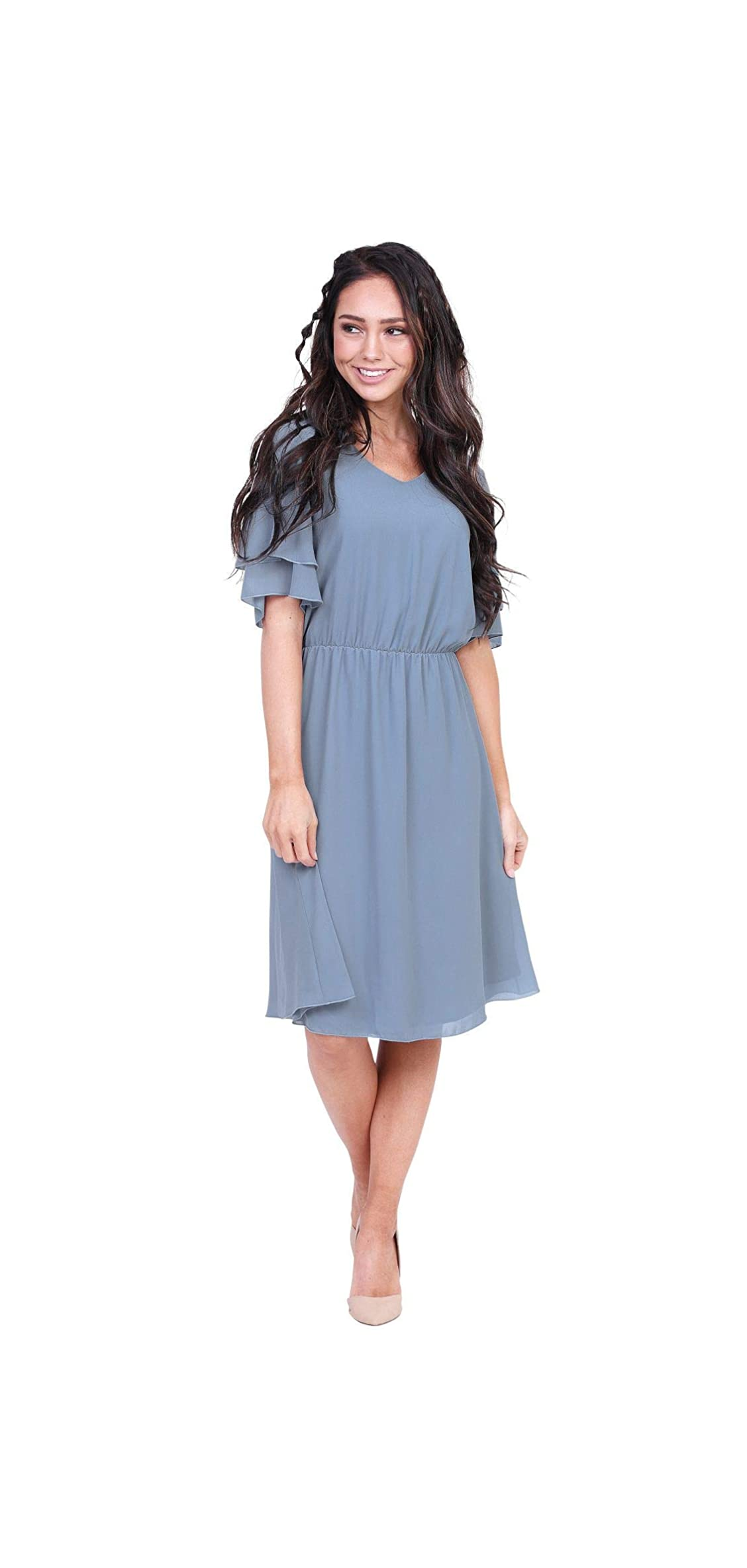 Women's Claire Modest V-neck Tiered Flutter-sleeve