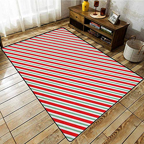 Outdoor Patio Rug,Candy Cane,Bicolor Stripes and Lines Festive Traditional Design Seasonal Pattern,Extra Large Rug Red Fern Green - Candy Mouse Stripe Cane