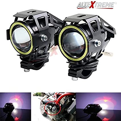 AllExtreme EXU7BW2 U7 CREE LED Fog Light Work Lamp with Hi/Low, Flashing  Beam and White Light Angel Eye Ring for Cars and Motorcycles (12W, White