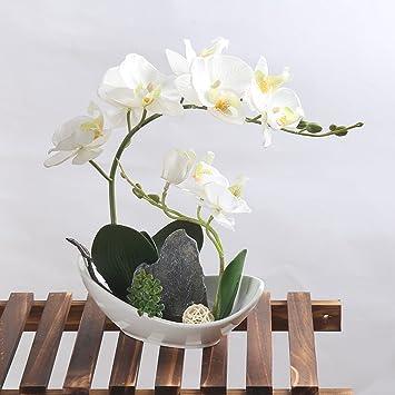 Kunstliche Blumen Orchidee Phalaenopsis Mit Vase Fur Garten Haus