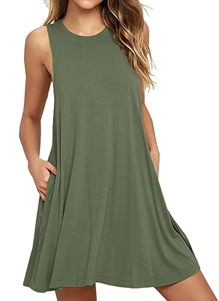 08091c16782d Iandroiy Women's Sleeveless Top T-shirt Swing Summer Dress (02 Army green  Sleeveless S