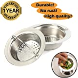 "Sink Strainer Stainless Steel Drain Kitchen wth Handle Dia. 7.8cm / 3"" (2Pack)"