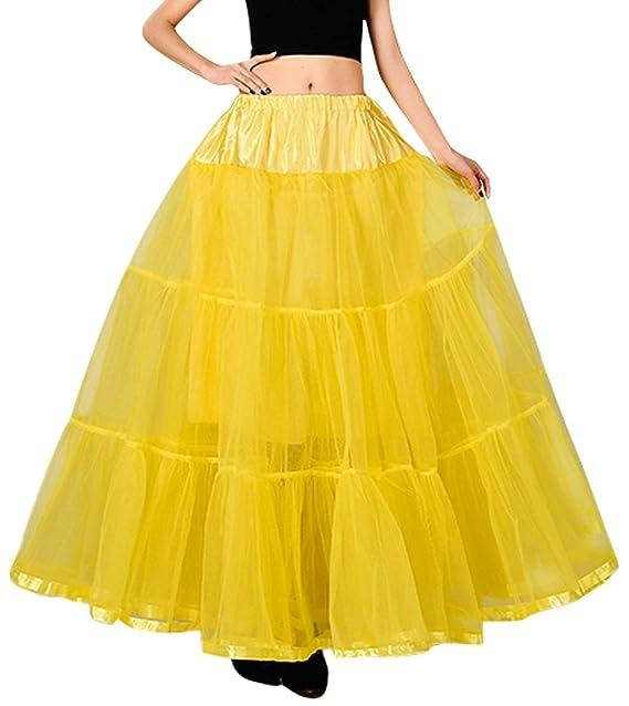 Feoya Cancan Tutú Falda Larga 50s Vintage para Mujer Chica Tul Retro Miriñaque Baile Underskirt