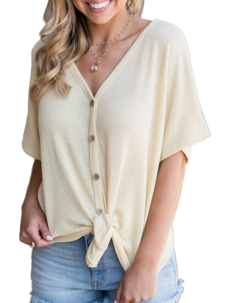 Womens Henley Shirts V Neck Button Down Short Sleeve Loose Knit Sweaters Tops Blouse Beige,L