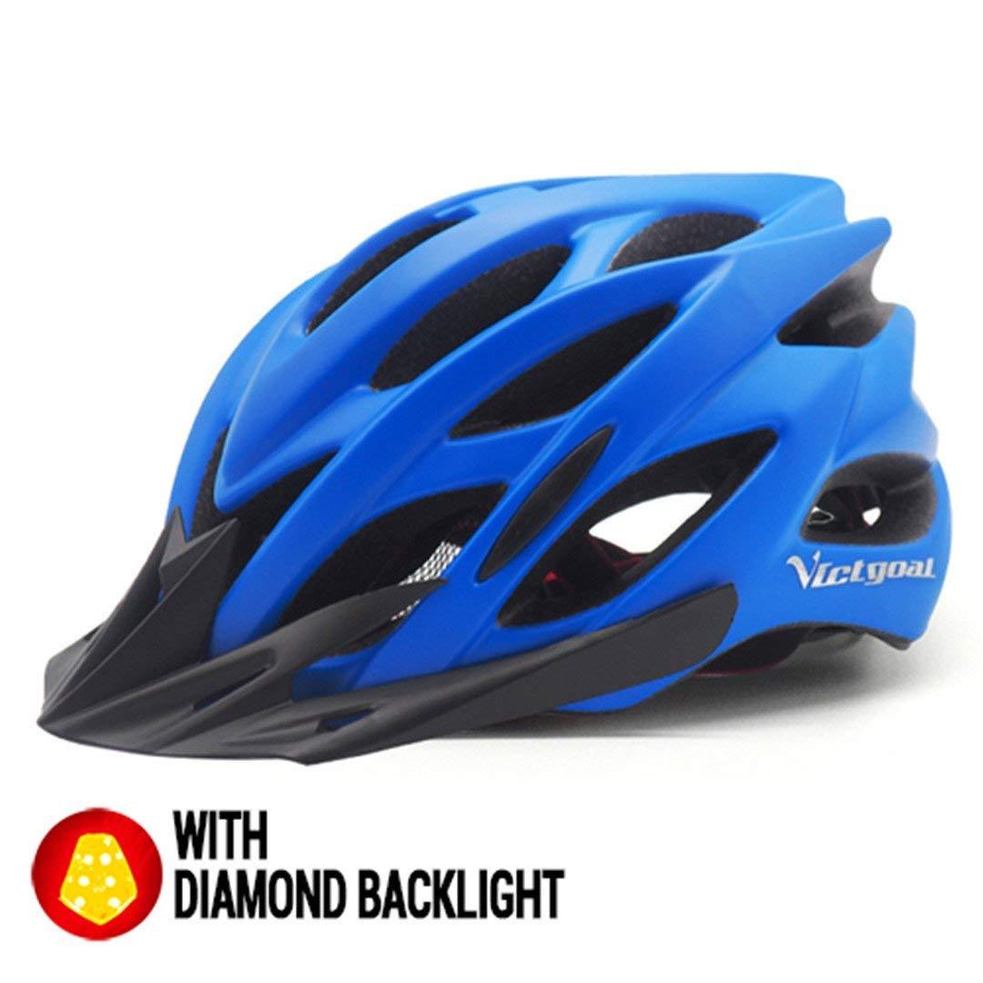 サイクリング自転車用ヘルメット 自転車ヘルメットサンバイザーバックライト男性女性 安全なサイクリングmtbマウンテンロードバイクライト付き スポーツ用保護ヘルメット (色 : Matte Blue Helmet) B07M7H89PT