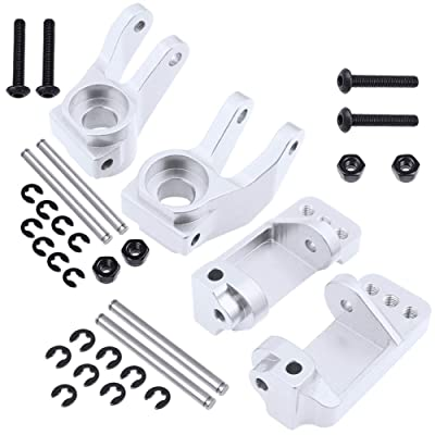 Hobbypark Aluminum Steering Blocks & Caster Blocks Replacement of 3736 3632 for 1/10 Traxxas Slash 2WD Option Parts (Sliver): Toys & Games