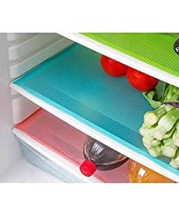 Designer Homes Waterproof Refrigerator Mats (Multicolour, 17 x12 inches) -6 Pieces