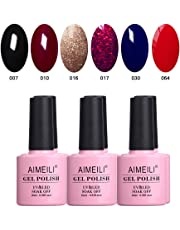 AIMEILI Soak Off UV LED Gel Nail Polish Colour Set Of 6pcs X 10ml - Kit Set 21