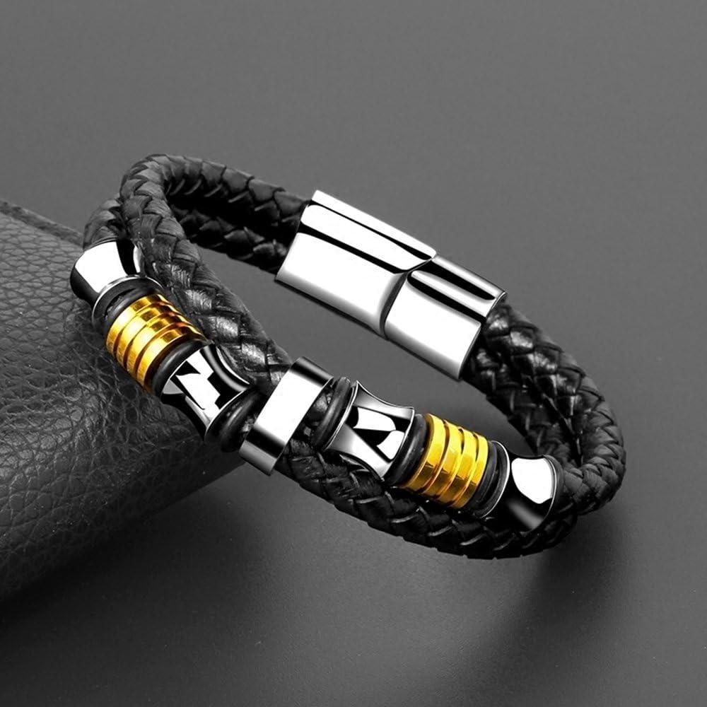 Joyer/ía de Moda Brazalete Pulsera de Hombre Acero Inoxidable Genuina Cuero Pulsera Brazalete Manguito Trenzado Trenzada Color Negro y Plata 20.5cm oro
