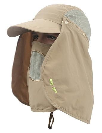 d964c27ba42 Unisex Outdoor Sun Hat Men Women Folding Legionnaire Cap with Flap  Detachable Fully Sun Protection Fishing