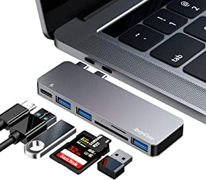 USB C Hub, 6 in 1 Aluminum Type C Hub Adapter, MacBook Pro 2020 Accessories with 3 USB 3.0 Ports, TF/SD Card Reader, USB-C Power Delivery for MacBook Pro 13″ and 15″ 2016-2019, MacBook Air 2018 2019