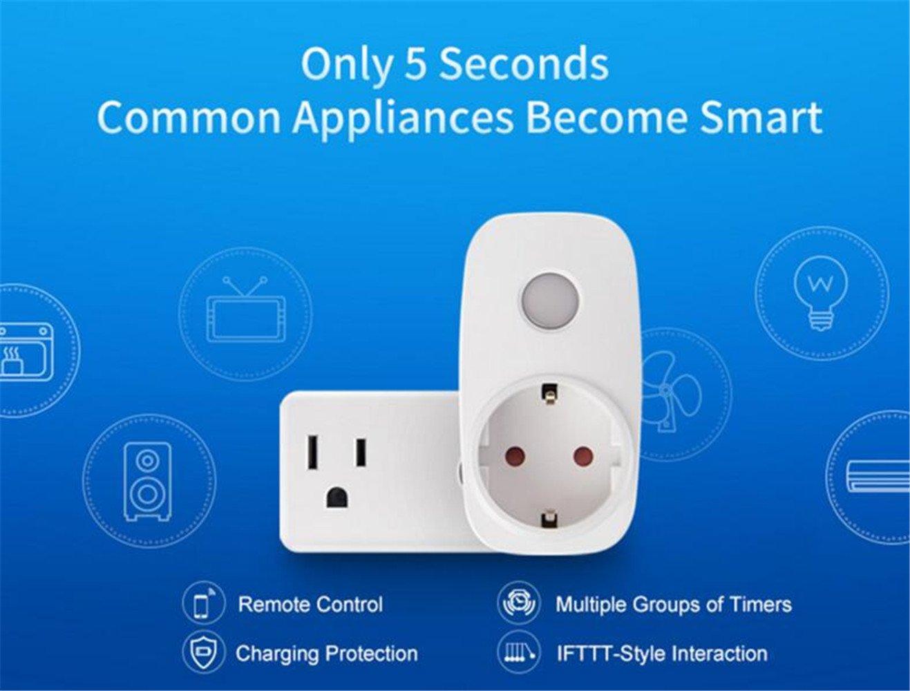Broadlink SP3S Enchufe inteligente inal/ámbrico con monitorizaci/ón de energ/ía,Wireless Intelligent Monitoring Power Plug Smart Socket