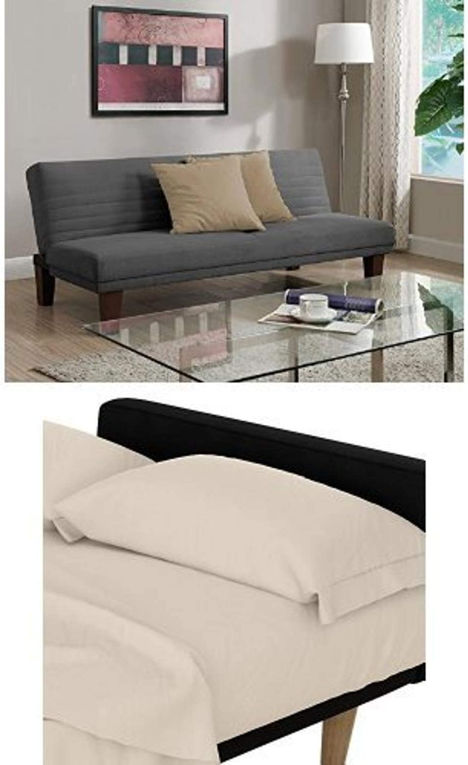 DHP Dillan Convertible Futon Couch Bed, Gray and Futon Sheet Set, Beige