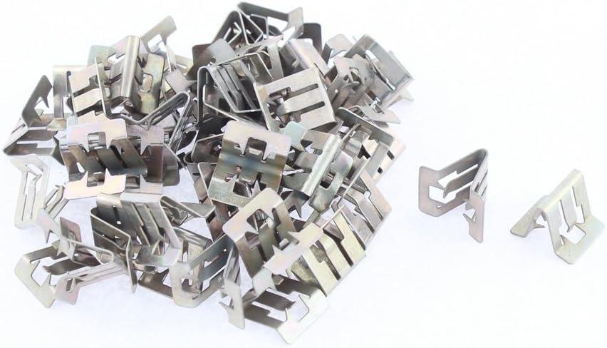 50pcs Silver Tone Car Console Instrument Dash Metal Retainer Trim Rivets Clips