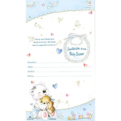 Amazon Com Baby Shower Invitation Boy Spanish W Envelope 100 Pkg