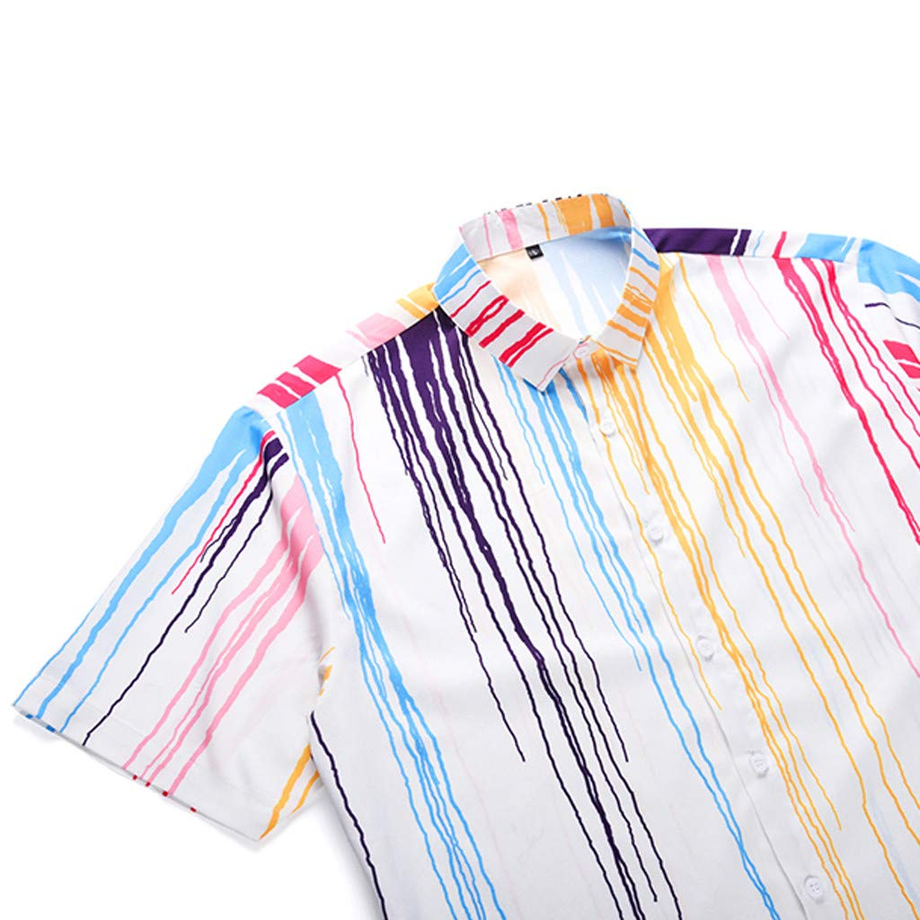 Mens 3D New Summer Stripe Printed Short-Sleeved Shirt Fashion Blouse Top