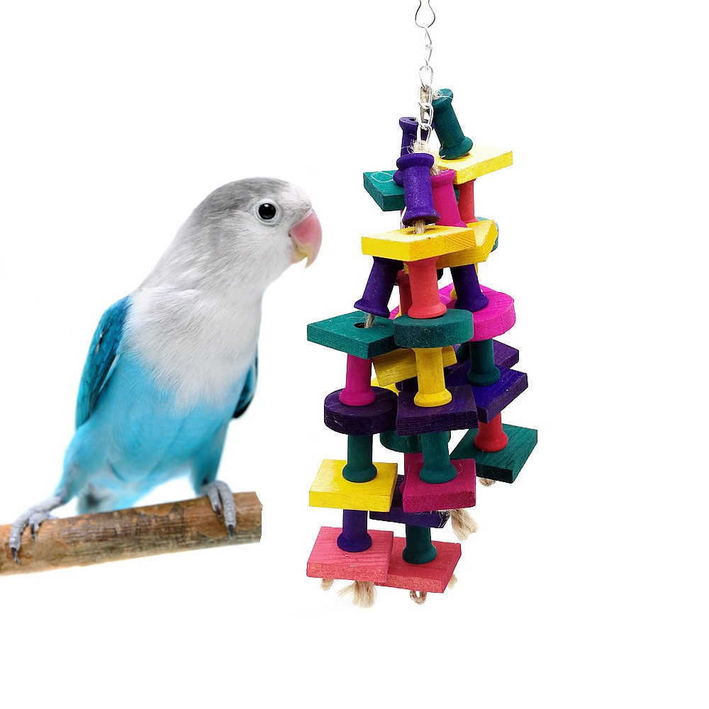Parrot Cage Toys Bird Chew Toys With Natural Wooden Block for Macaw African Greys Cockatoo Budgies Parakeet Cockatiel Lovebirds Intelligence Training Birdcage Accessorie (parrot chewing toys)