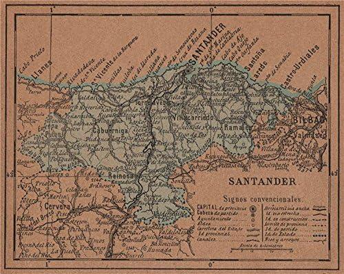 Cantabria Santander. Mapa Antiguo de la Provincia – 1905 – Old Antiguo Mapa Vintage – Mapas de Impreso de España: Amazon.es: Hogar