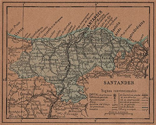 Cantabria  Santander  Mapa Antiguo De La Provincia   1905   Old Map   Antique Map   Vintage Map   Spain Maps