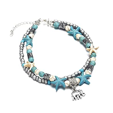 Brishow Bohemian Silver Sea Turtle Anklet Bracelet Fashion Beach Jewelry for Women and Girls