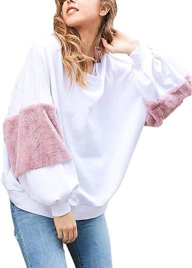 Tasty Life Sudadera Blanca para Mujer, Elegante Y Simple Suéter De Manga con Costura Peluda, Blusa para Mujer, Sudadera Suelta para Mujer, Camisa De Manga Larga(One Size, White): Amazon.es: Ropa y accesorios