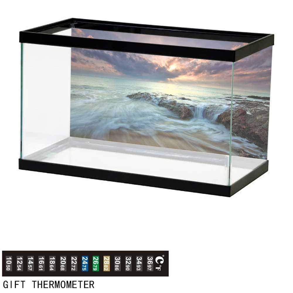 Yloveme Fish Tank Decorations Beach Clouds Dawn 139975 Waterproof Fish Tank Sticker