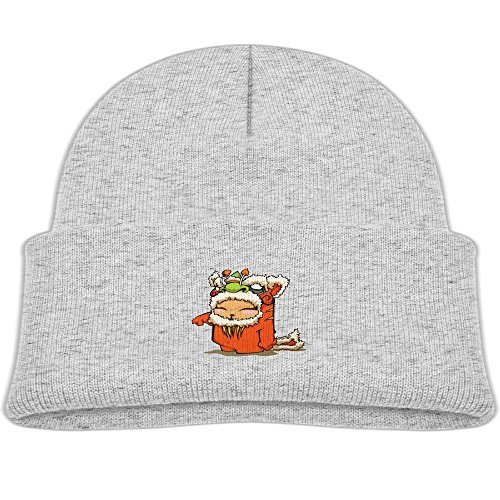 Children's 4 Colors Knitting Caps Funny Winter Cool Lion Dragon Dance New Year (Grey Mouse Onesie Costume)
