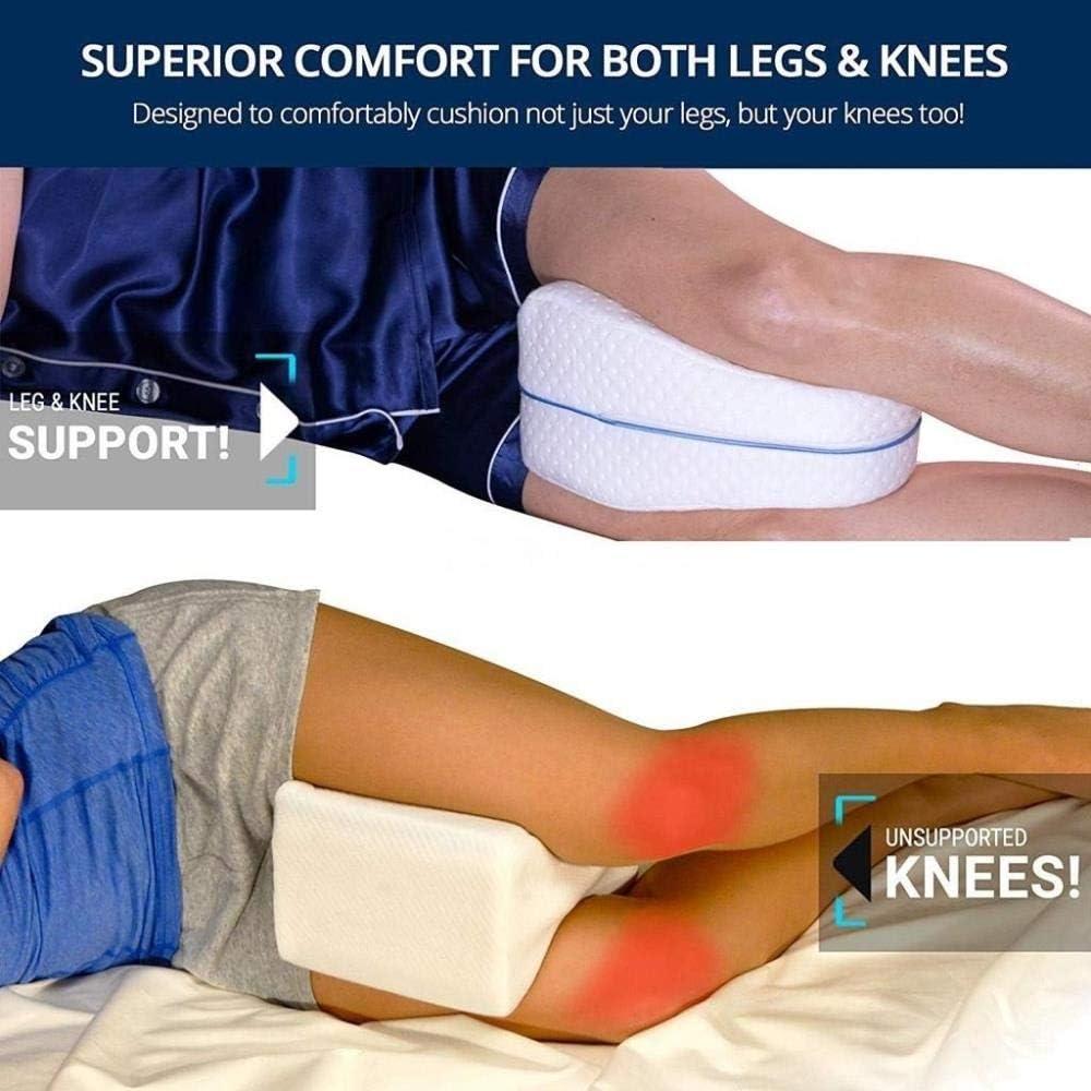 23CM WeiXun Leg Correct Knee Pillow Soft Orthopedic Pillow for Sleeping Memory Foam Comfortable Leg Positioner Sleep Knee Support Cushion,white,25 15.5