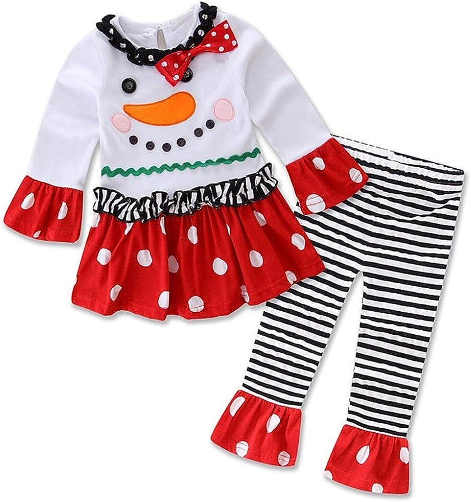 Infantil Disfraz Navidad Conjunto de muñeco de Nieve para bebé niña Camiseta de Manga Larga de Dibujos Animados + Pantalones a Rayas 2 Piezas 0-3 años