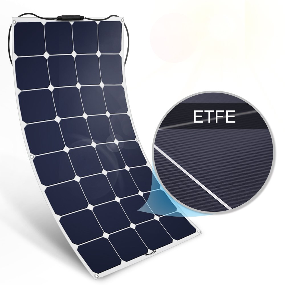 BougeRV 100W 18V 12V Solar Panel Charger ETFE SunPower Cell Flexible Ultra Thin with MC4 Connector Charging for RV Travel Trailer Van Truck Car SUV Pontoon Boat Cabin Tent