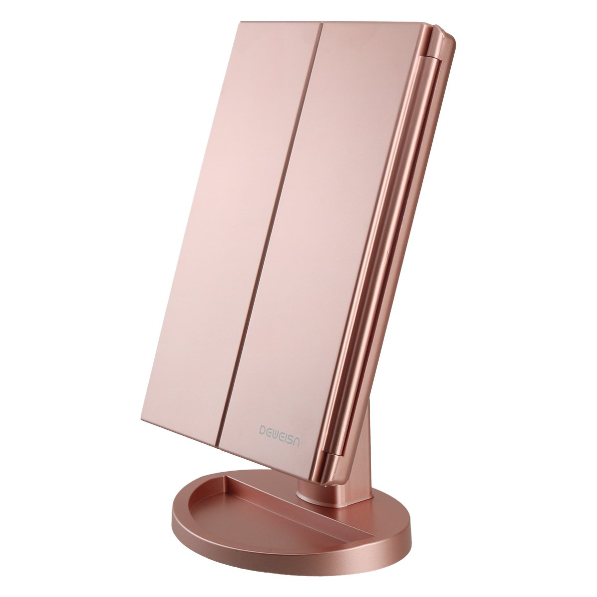 deweisn Tri-Fold Lighted Vanity Makeup Mirror with 21 LED Lights,3X/2X Magnification Mirror,Touch Sensor Switch, Two Power Supply Mode Tabletop Makeup Mirror,Travel Cosmetic Mirror (Rose Gold) by deweisn