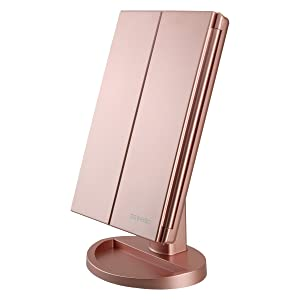 Tri-Fold Lighted Vanity Makeup Mirror with 21 LED Lights,3X/2X Magnification Mirror,Touch Sensor Switch, Two power Supply Mode Tabletop Makeup Mirror,Travel Cosmetic Mirror (Rose Gold)