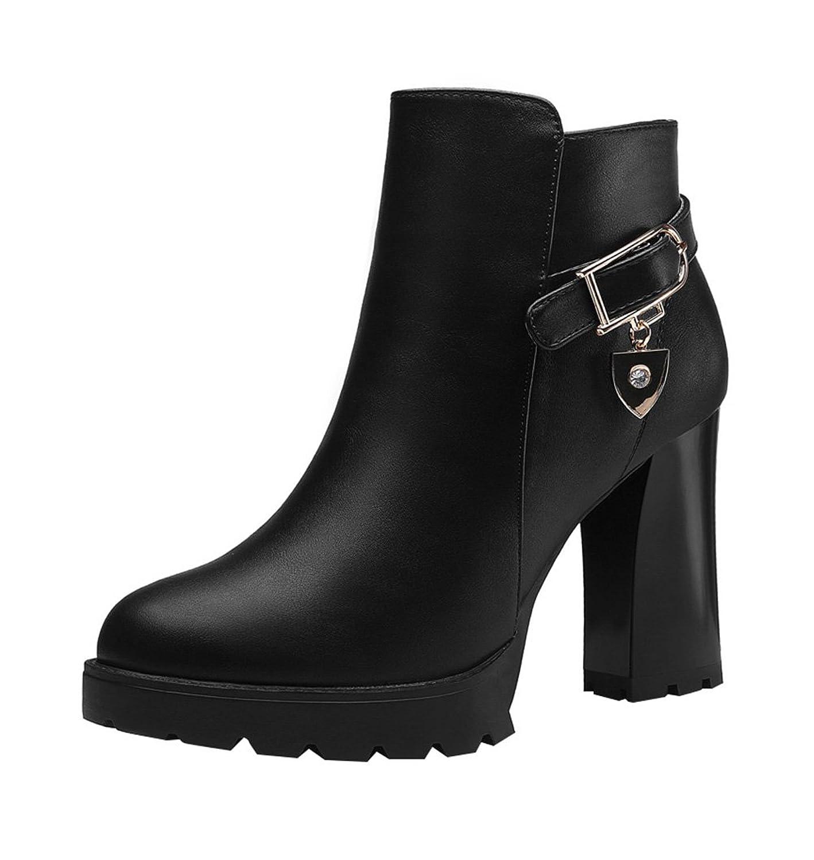 T&Mates Womens Elegant Side Zipper Buckle Strap Platform Chunky Heel Dress Pump Ankle Booties