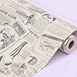 SimpleLife4U Old Fashion Newspaper Contact Paper Roll Peel Stick Shelf Drawer Liner Locker Sticker 17.7 Inch by 13 Ft