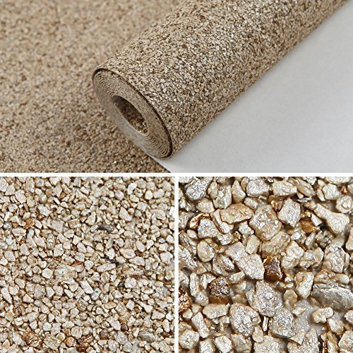 HANMERO Luxury Design Vermiculite Mica Stones Wallpaper Wall Covering for Home, Bedroom, Dining Rooms and Hotel Wall Art Wall Decoration - MC (300cm x 53cm) Modern Designer Wall Paper (Beige) by HANMERO (Image #5)