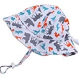 Baby Toddler Kids Sun Hat with Chin Strap, Adjustable Head Size, 50+ UPF Cotton Brim or Bucket Hat