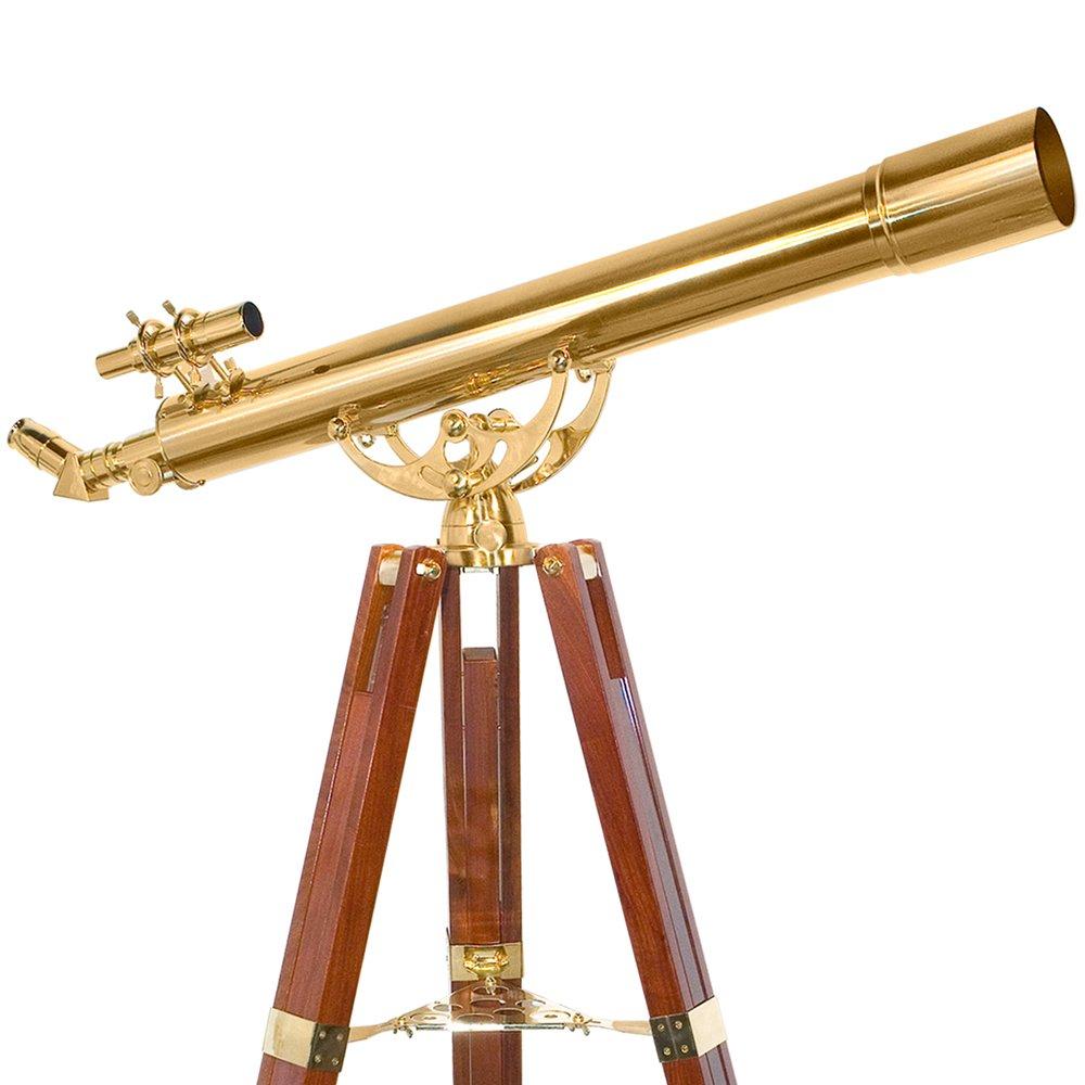BARSKA Anchormaster 36x80mm Brass Refractor Telescope w/ Mahogany Floor Tripod by BARSKA